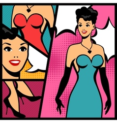 Retro girl in pop art style vector