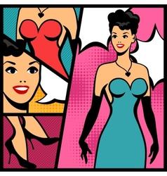 retro girl in pop art style vector image