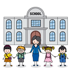 Children with teacher vector
