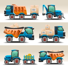 Set of trucks and tractors for transportation vector