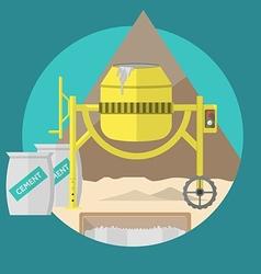 Flat for construction site Concrete mixer vector image