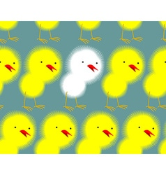 Yellow chickens stand in a row and among them one vector