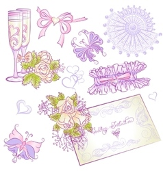 Wedding accessories part1 vector