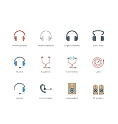 Headphones color icons on white background vector