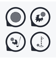 Golf ball icons fireball with club symbol vector