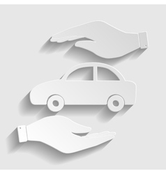 Car sign paper style icon vector