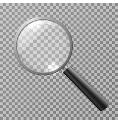Realistic magnifying glass isolated on checkered vector