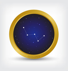Cassiopeia constellation in golden circle vector