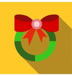 Christmas wreath with red bow icon flat style vector
