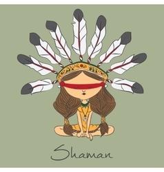 Color sketch shaman redskin vector