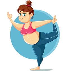 Cute overweight girl in yoga pose cartoon vector