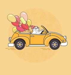 cute white bear with balloons in yellow toy car vector image vector image