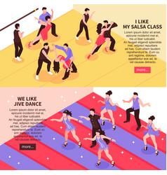 Dance isometric people banners vector