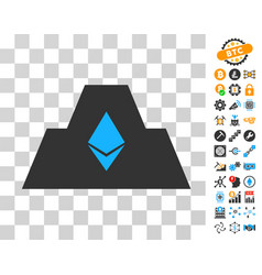 Ethereum crystal citadel icon with bonus vector