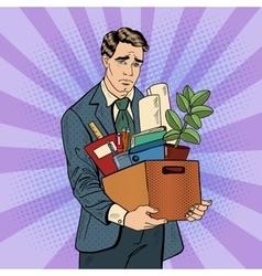 Fired Frustrated Pop Art Businessman vector image