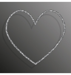 Frame silver sequins heart glitter sparkle vector