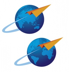 Globe and airplane vector