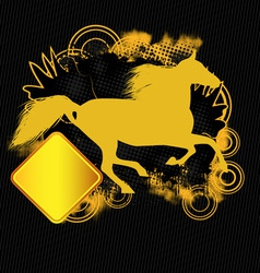 grunge tshirt effect with horse silhouette vector image
