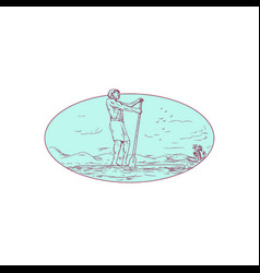 Guy stand up paddle tropical island oval drawing vector