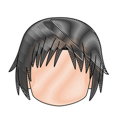 Head boy anime avatar image vector