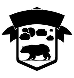 Isolated bear inside label design vector