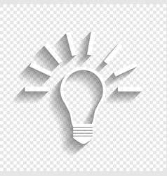 Light lamp sign white icon with soft vector