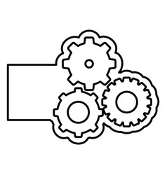 monochrome contour with gear of wheels and banner vector image vector image