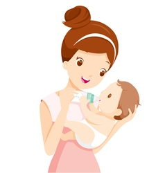 Mother feeding baby with milk in baby bottle vector
