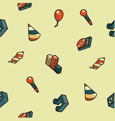 party color outline isometric pattern vector image