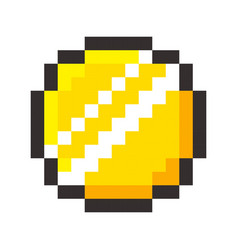 pixel art golden coin retro video game vector image vector image