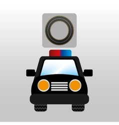 Police car front circle road way design vector