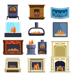 Set of fireplace icons vector image