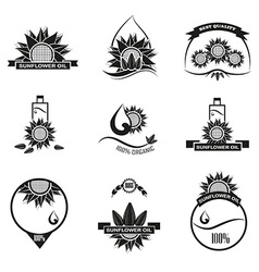 Set of sunflower oil emblems labels and logos vector image