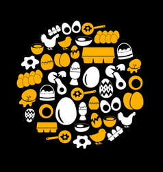 Set of yellow and white egg theme icons in circle vector