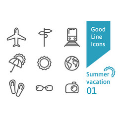 Summer vacation outline icons set 01 vector