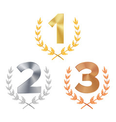 trophy award set award figures 1 2 3 vector image
