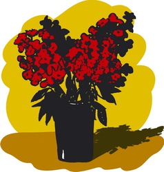 Vase with red flowers vector