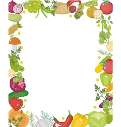 Vegetables square frame with place for text flat vector