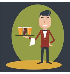 Waiter with three glasses of beer vector