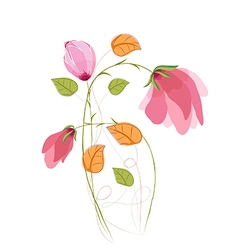 Watercolor Bouquet of tulips in Pink and leaf vector image