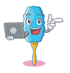 With laptop feather duster character cartoon vector