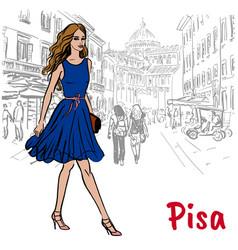 woman in pisa vector image vector image