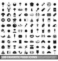 100 favorite food icons set simple style vector