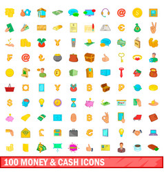100 money and cash icons set cartoon style vector image