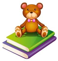 A bear above the pile of books vector