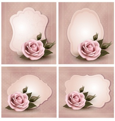 Collection of retro greeting cards with pink roses vector