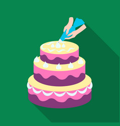 Decorating of birthday cake icon in flat style vector
