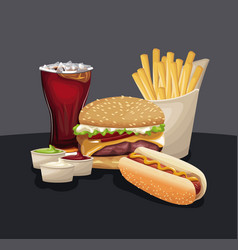 Burger hot dog french fries soda sauces fast food vector
