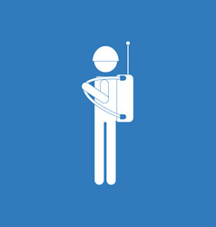 icon soldier holding walkie talkie vector image