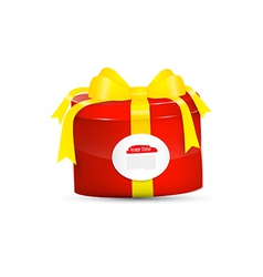 Red present box gift box with yellow ribbon vector